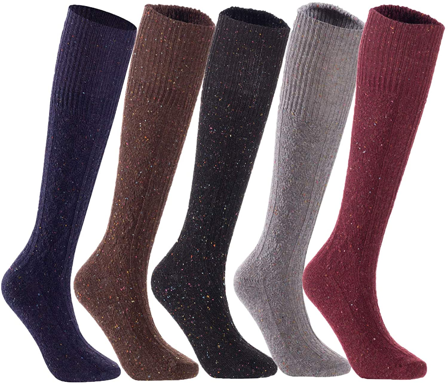 Lian LifeStyle Women's 5 Pairs Knee High Wool Boot Socks HR1412 Size 6-9 5 Colors