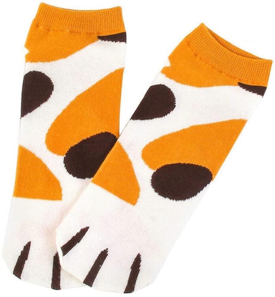 USVSU 2 Pack Women Cat Socks Cat Claw Socks Soft Plush Sleep Socks for Women and Girls with Paw Prints on Toes (C)