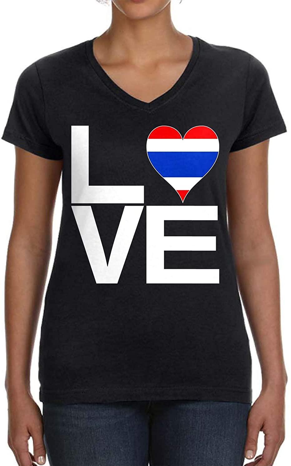 Tenacitee Women's Love Block Thailand Heart V-Neck T-Shirt