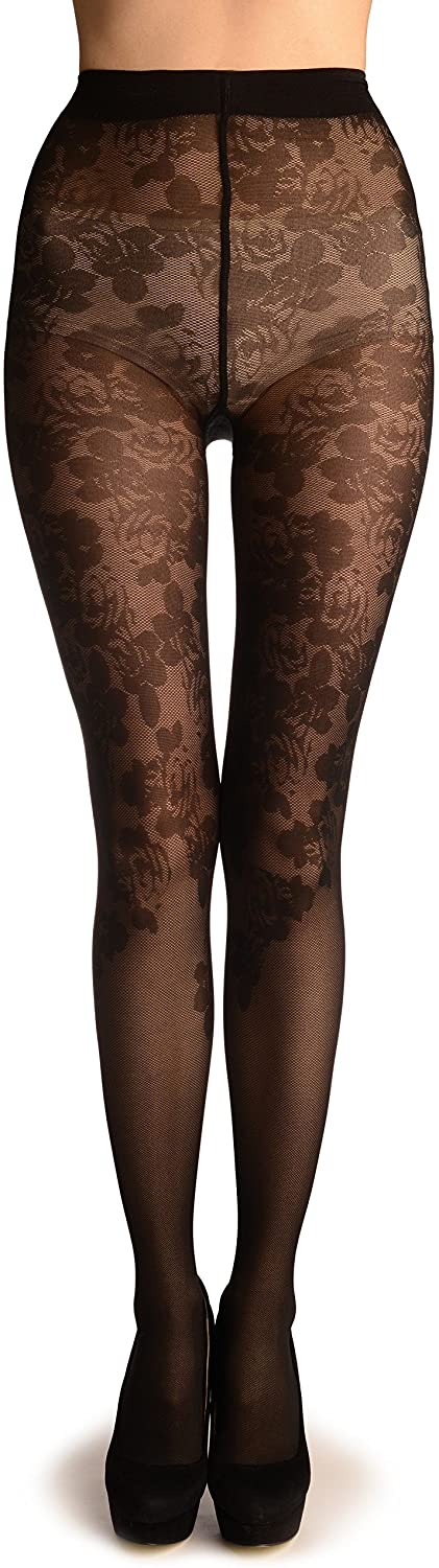 Black Woven Roses On Micro Mesh - Pantyhose (Tights)