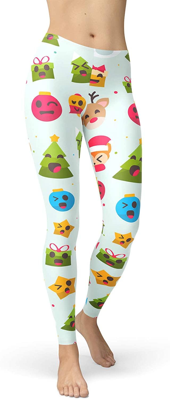 Winter Leggings, Fleece, Mid Waist - Christmas Emojis