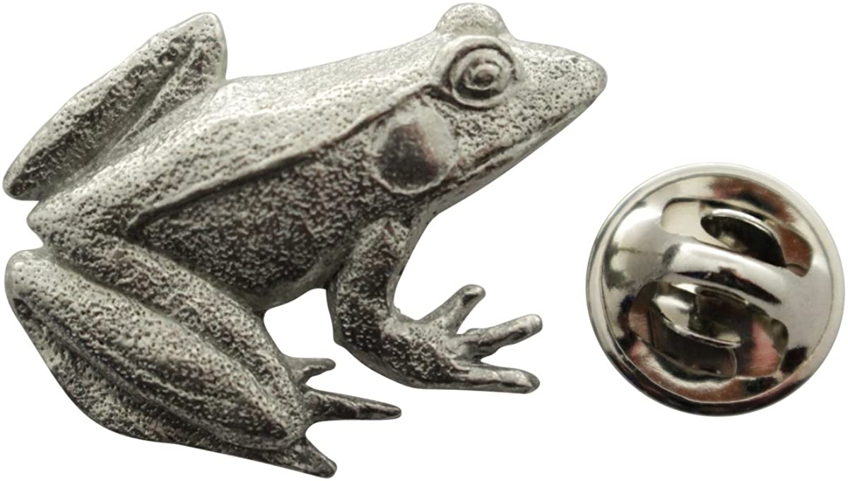 Sarahs Treats & Treasures Frog Pin ~ Antiqued Pewter ~ Lapel Pin