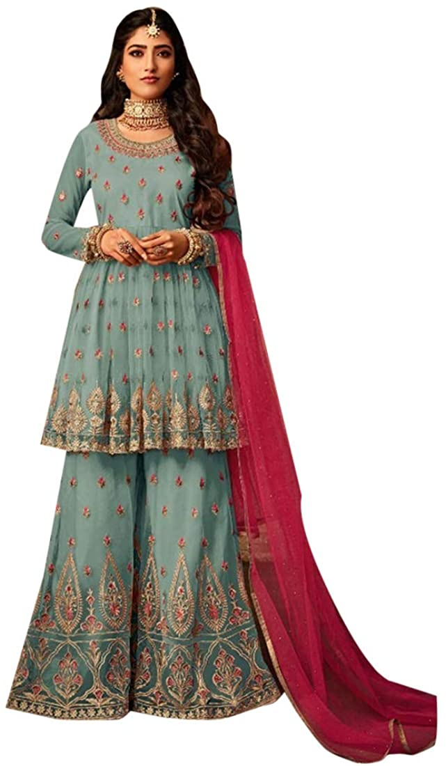 Ethnic Designer Net Sharara Kameez Suit Party Wear Women Dress Indian Muslim Wedding Semi-stitch Eid Festive 8771