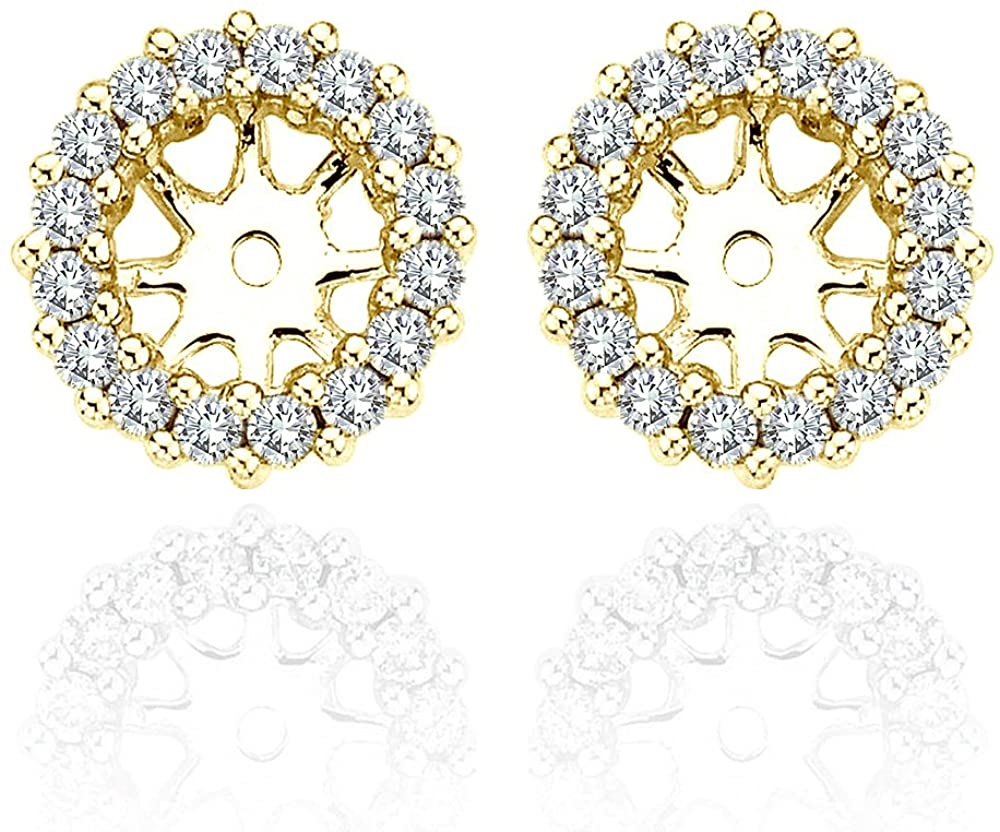 2.00 Carat White Diamond Earrings Jackets For 6 MM(2.00 Carat Total Weight) 14K Yellow Gold Halo Stud Solitaire
