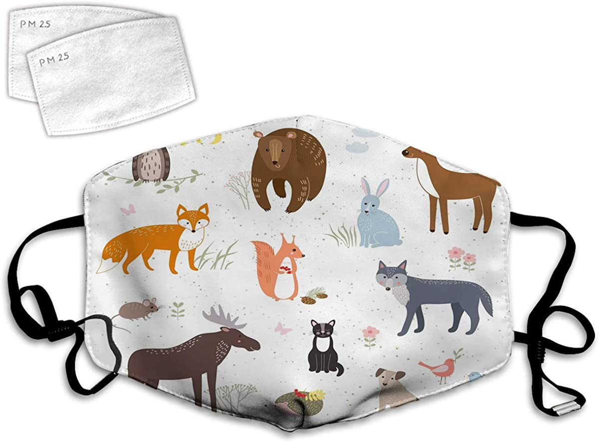 Multi Usage Face Cover UP Animals in The Springtime Meadow Childish Woodland Fauna Kids Baby Room Nursery Balaclava Reusable Windproof Mouth Cover with 2 Filter