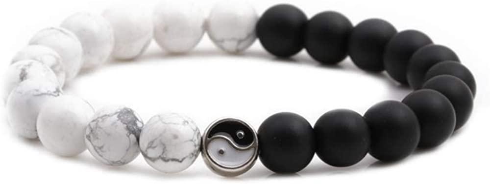 NOQ Yin Yang 8mm Natural Stone Bead Couples Bracelet for Men Women Stress Relief Yoga Black Matte Howlite Stone Elastic Anxiety Healing Bracelet for Men Women