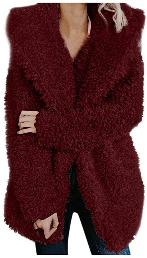 Womens Oversize Fleece Jacket NRUTUP Plush Faux Fur Hooded Winter Coat Saggy Soft Fleece Hoodie Ladies Casual Outwear