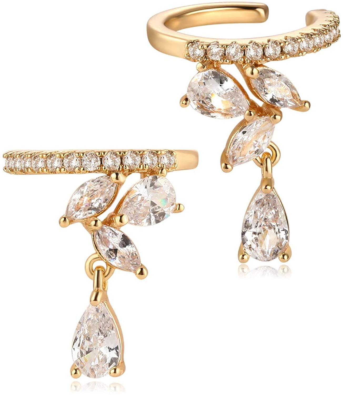 MYEARS Women Ear Cuff Earrings Gold Snake Climber Crawler Flower Diamond CZ Dangle Non Pierced Cartilage Clip on Open Wrap Hoop 14K Gold Filled Simple Minimalist Delicate Hypoallergenic Jewelry Gift