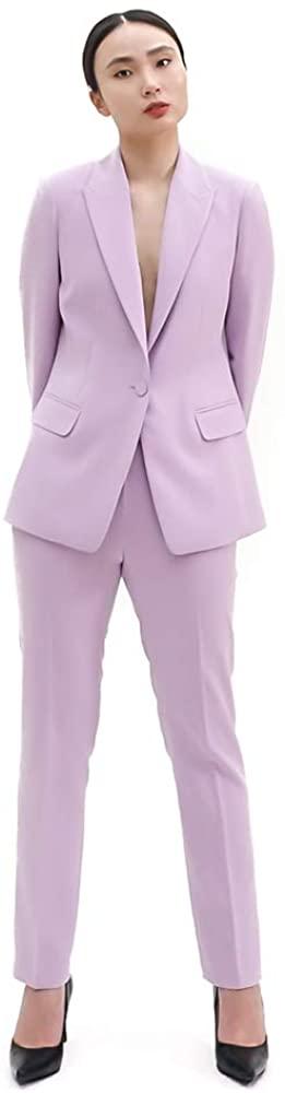 SUIT HEEL One Button Single Suit Lavender, Women Pantsuit Set, Peeked Lapel, Slim Fit Straight Line (Jacket M+Pants M)