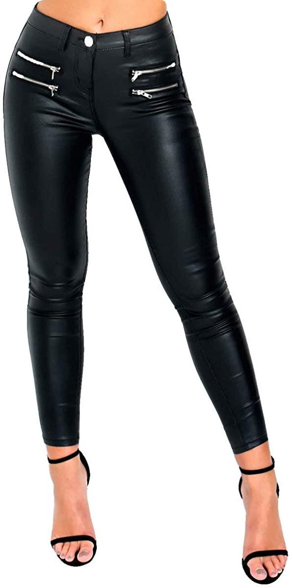 IKRUSH Womens Zendaya Skinny Mid Rise Coated Jeans