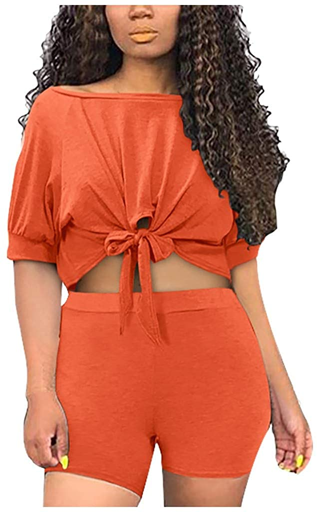 GLVSZ Women's 2 Piece Tracksuit Knot Short Sleeve T-Shirt Shorts Set Outfits