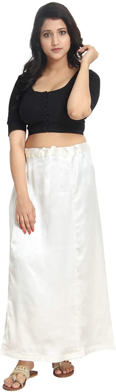 Satin White Indian Saree Petticoat Stitched Underskirt Undercoat Adjustable Waist Sari Skirt Quilted PS