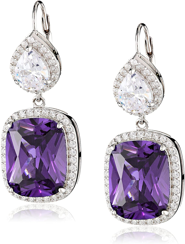 Charles Winston, Sterling Silver, Cubic Zirconia Drop Earrings, 21.50 ct. tw.