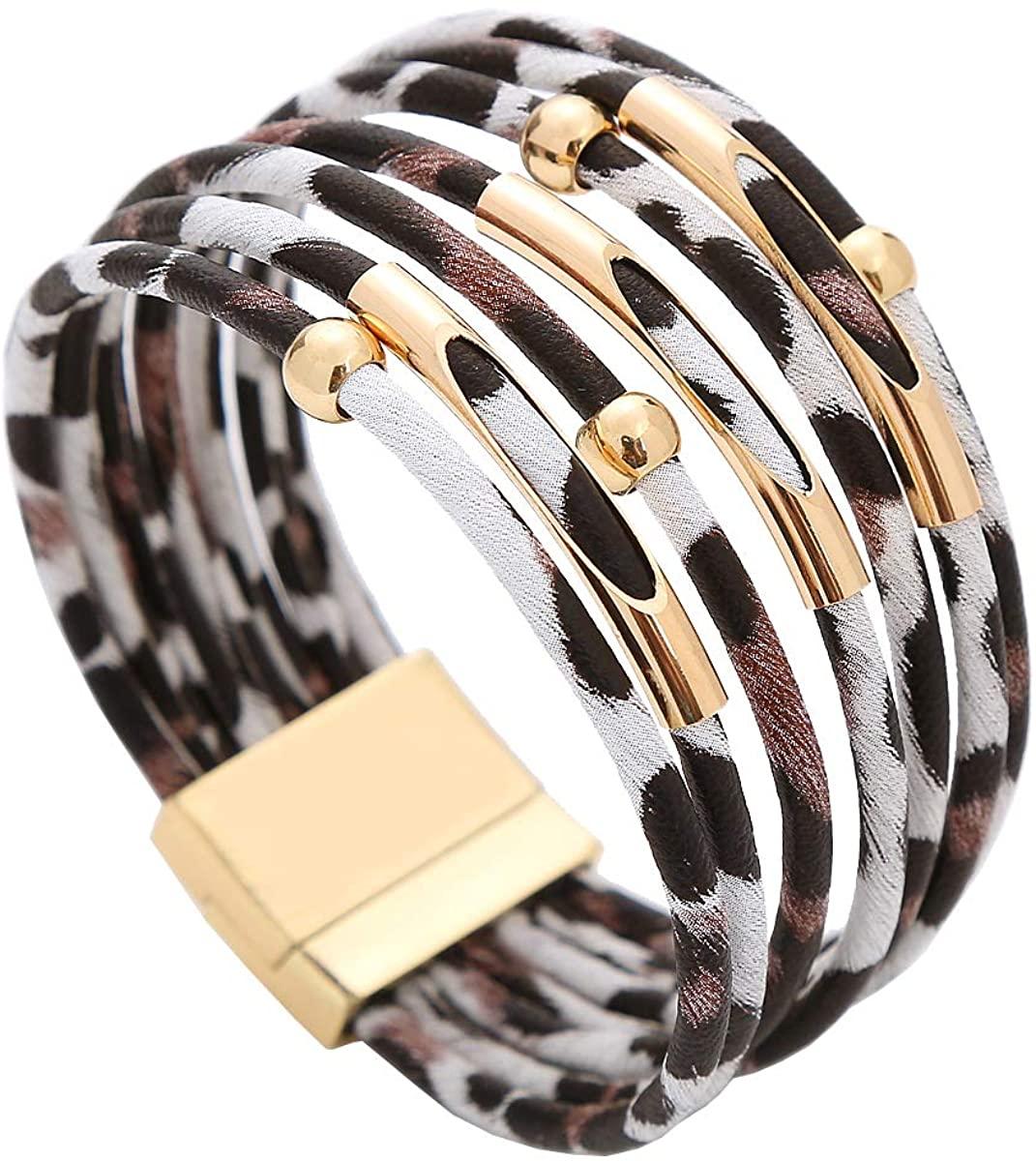 JO WISDOM Leopard Bracelets Leopard Tube Bracelet Multilayer Leather Cuff Bracelet and Boho Leopard Earrings