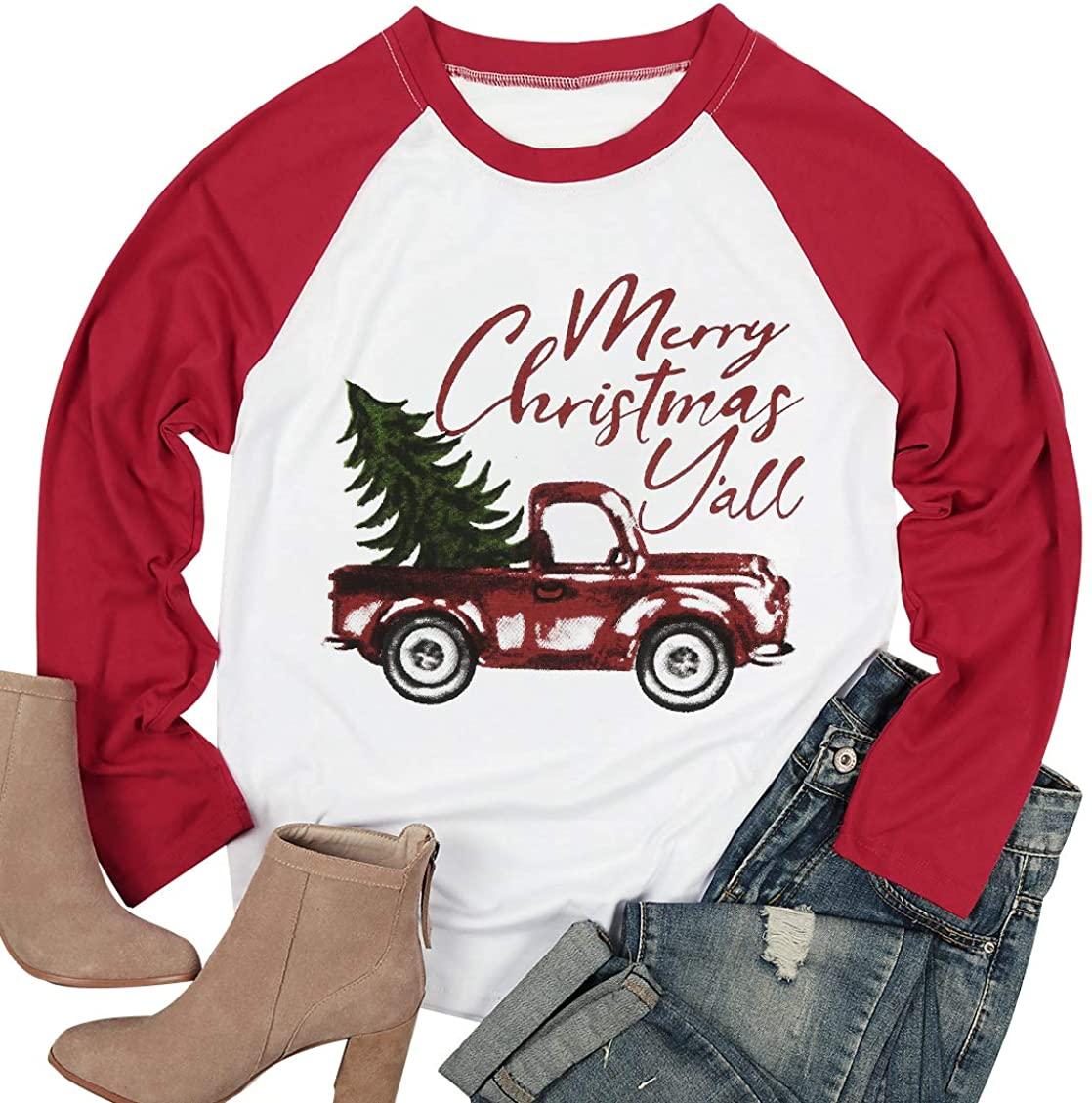 Plus Size Merry Christmas Y'all Baseball Shirt Women Xmas Truck Tree Graphic Tees 3/4 Sleeve Raglan Tops