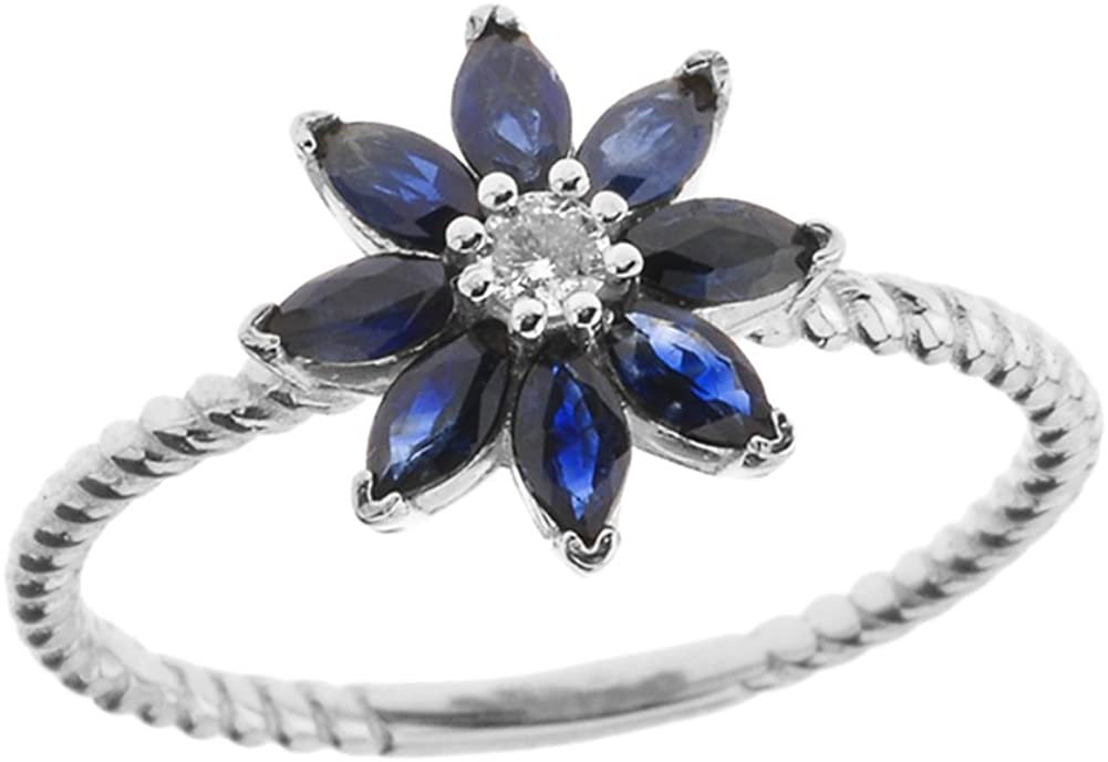 Elegant 14k White Gold Diamond Daisy Rope Promise Ring with Sapphire Petals