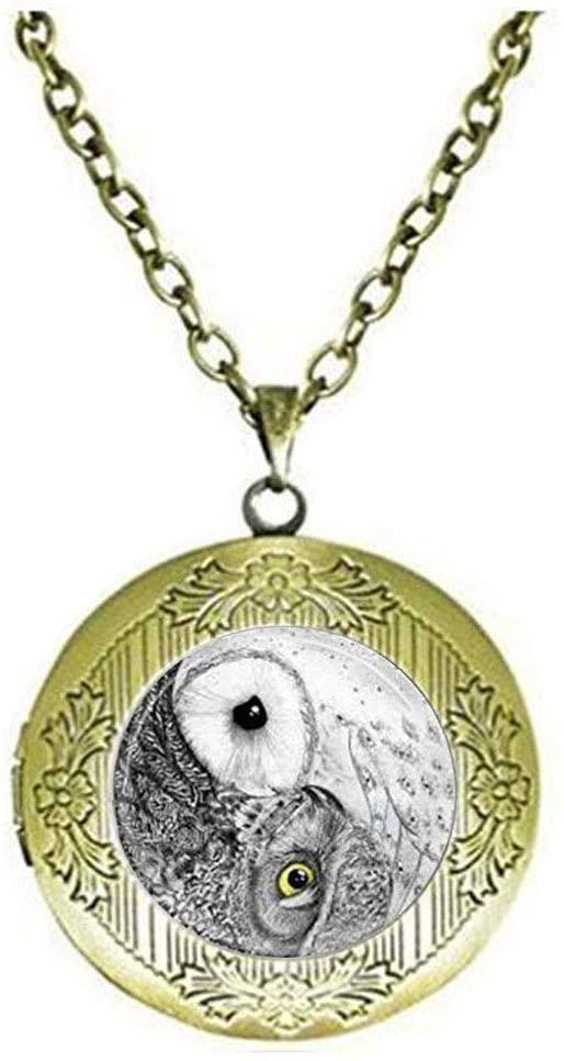 Yin Yang Owl Locket Necklace Bird Jewelry Zen Nature Art Locket Necklace