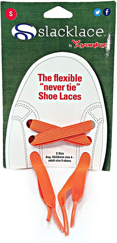 Slacklace - Flat Elastic Shoe Laces - No Lock, No Re-Tie, Orange, Large