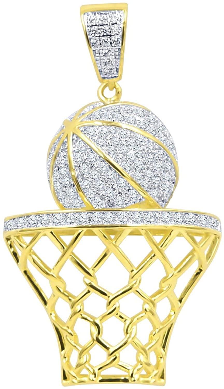 925 Sterling Silver Micro Pave Pendant Basketball Basket gol