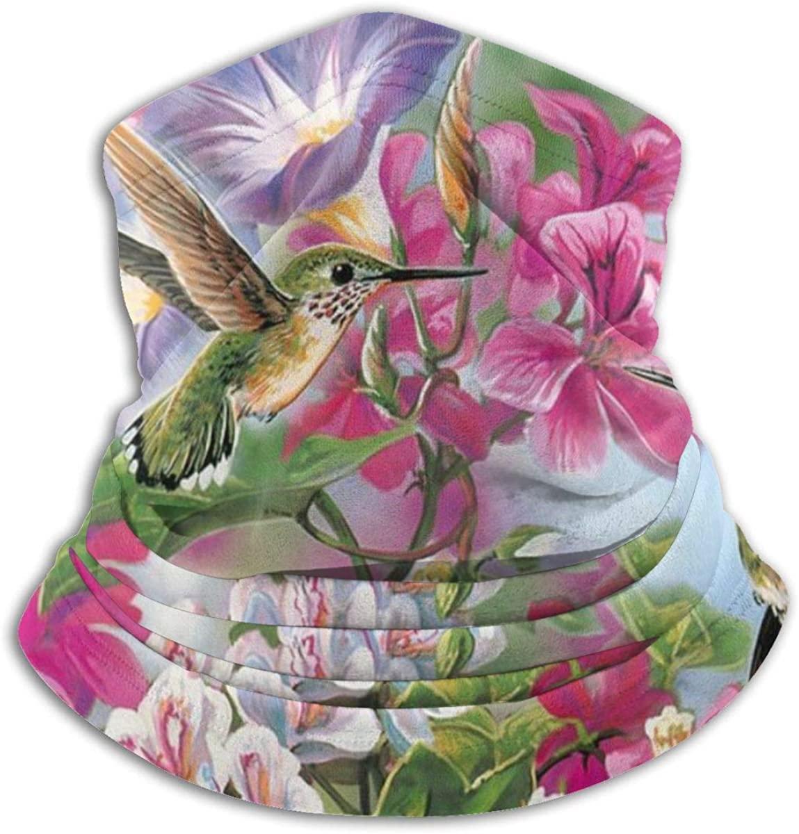 Hummingbird Flowers Seamless Face Mask Neck Gaiter Bandanas Multi-Functiona for Dust, Outdoors, Festivals, Sports Black