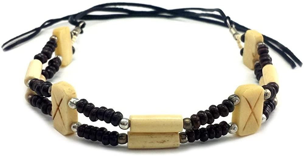 Traditional Tribal Handmade Choker 2 Line Buffalo Bone Hairpipe Necklace