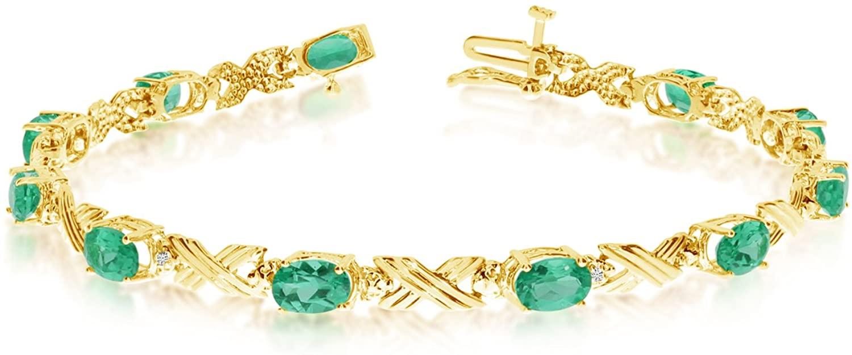 14K Yellow Gold Oval Emerald Stones And Diamonds Tennis Bracelet, 7