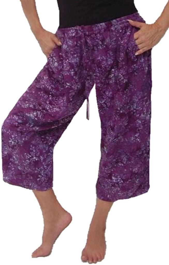 LOTUSTRADERS Capri Pant Pockets Bali Batik Art R458