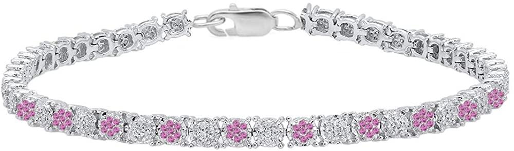 Dazzlingrock Collection Round Gemstone & White Diamond Ladies Cluster Tennis Link Bracelet, Sterling Silver
