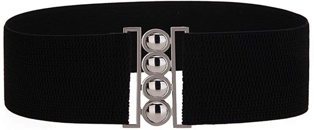 Dreamfly Women Belts Cinch 2.9 inch Stretch Elastic High Belt Fashion Waist Belts Belts with Metal Buckle for Women Dress