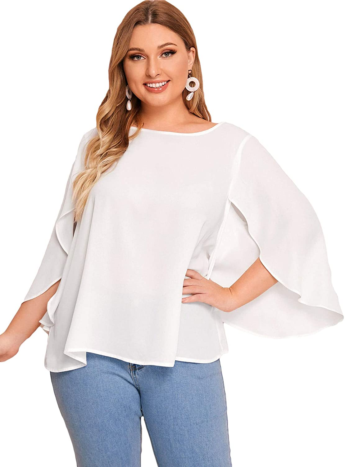 ROMWE Womens Plus Size 3/4 Overlap Sleeve Boat Neck Chiffon Blouse Top