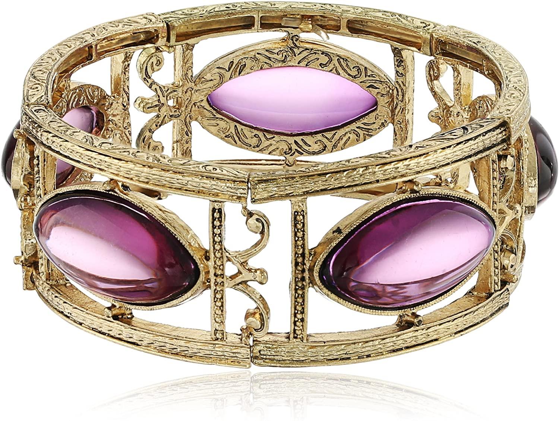 1928 Jewelry Gold-Tone Purple Navette Stretch Bracelet