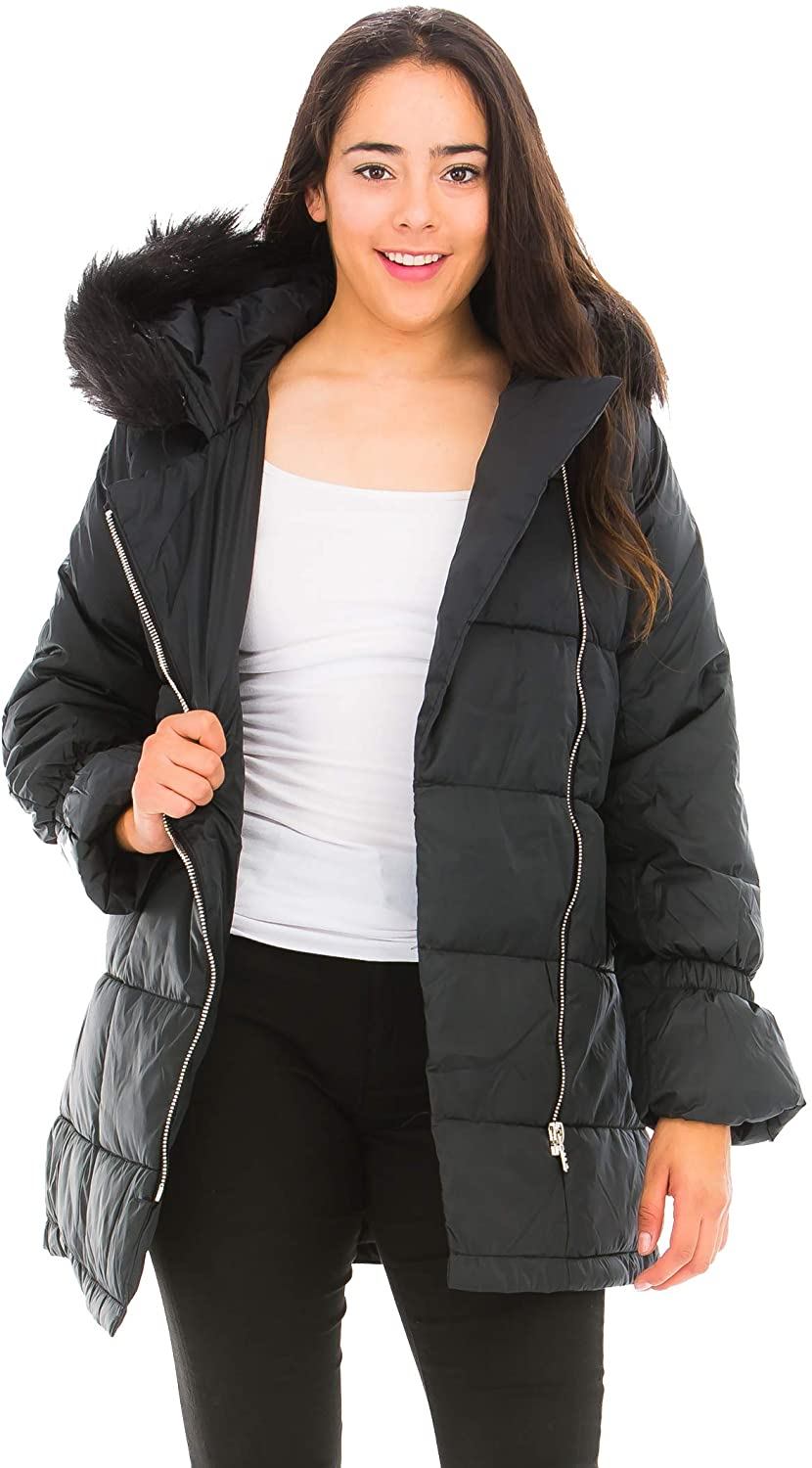 PIXNET Women's Winter Hooded Down Puffer Jacket Coats Thickened Parkas Hip-Length with Faux Fur Trim Hood