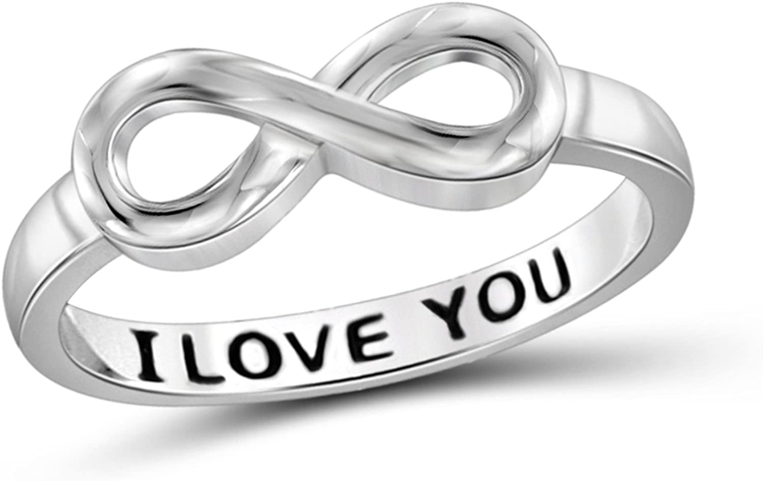 Jewelexcess Elegantly Engraved with I Love You Infinity Ring