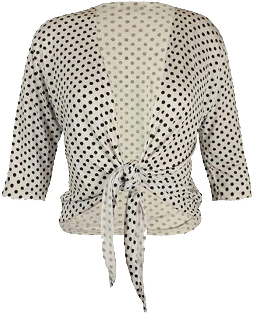 Rimi Hanger Womens Polka Dot Tie Front Cropped Shrug Ladies 3/4 Sleeve Bolero Cardigan Top US 10-24
