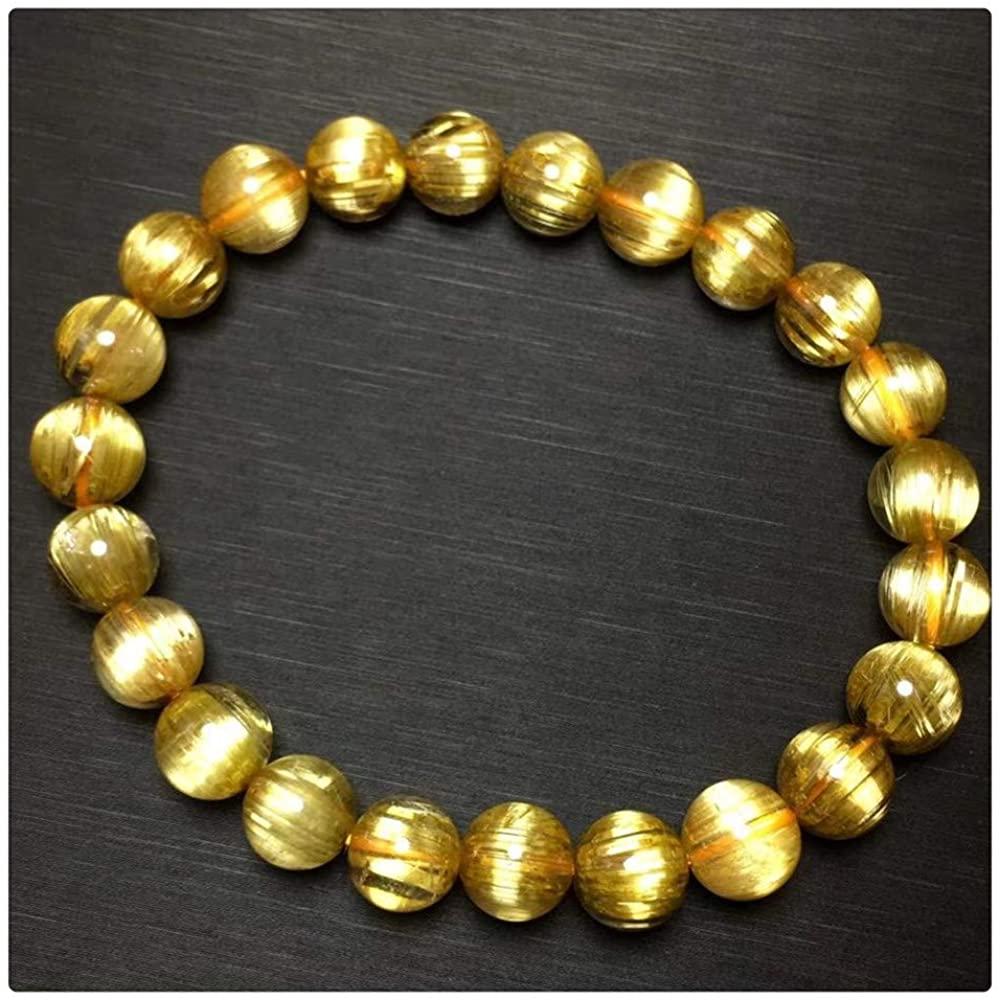 DUOVEKT Certificate 8mm Natural Gold Rutilated Titanium Quartz Bracelet Brazil Women Men Round Beads Crystal Stretch Jewelry AAAAAA