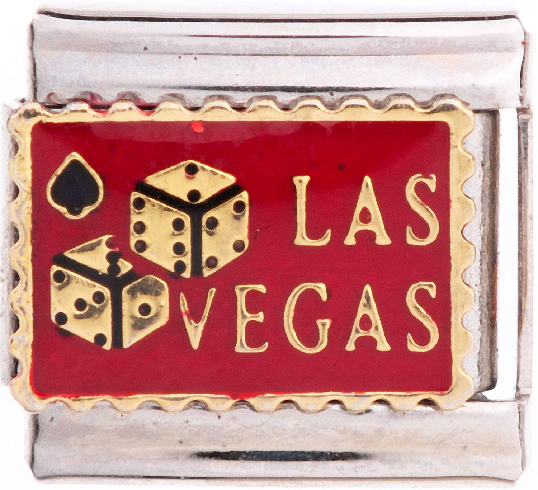 University Gifts Italian European Friendship Bracelet Charms 9 mm Las Vegas Lucky Dice