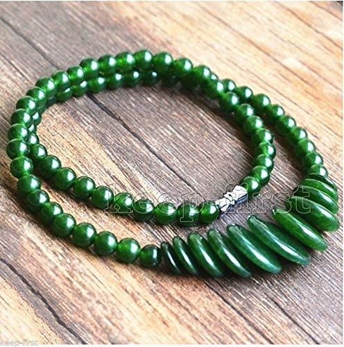 Beading Fashion Green Jade Gemstone Round Beads & Coin Beads Necklace 17.5