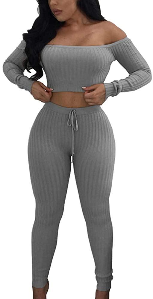 Women 2 Piece Outfit-Fashion Off Shoulder Crop Tops Pants Sets Split Bodycon Sportswear
