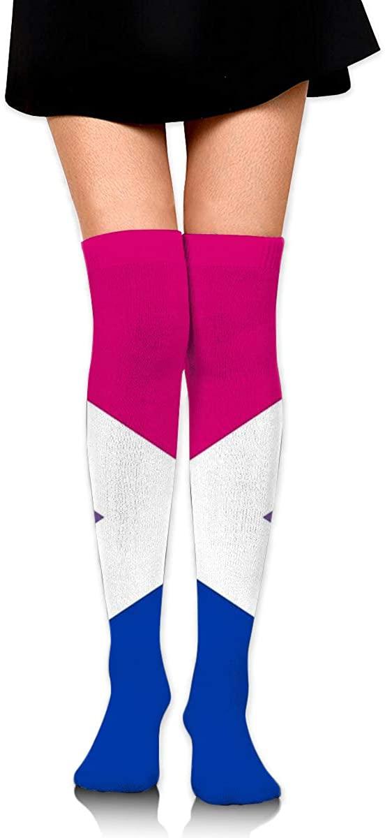 Dress Sock Scottish Bisexual Pride Flag Long Knee Hose Novelty Hold-Up Stockings