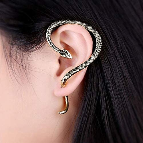 Harva Excellent Gothic Punk Snake Wind Temptation Silver Ear Stud Cuff Earring Statement Earring Accessory Jewelry - (Metal Color: Silver)