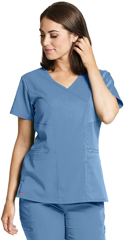 Grey's Anatomy GRST001 Women's Kim Princess Scrub Top Ciel Blue XL