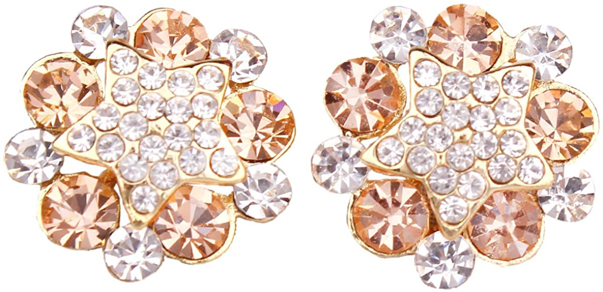 Grace Jun Bridal Rhinestone Crystal Gold Plated Clip on Earrings Without Piercing Fashion Ear Clip