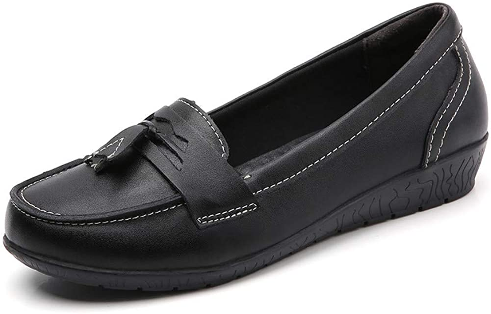 ailishabroy Women's Loafers Black Leather Slip on Flat Shoes Causal Moccasins Wild Breathable Comfortable Driving Fashion Soft Shoes