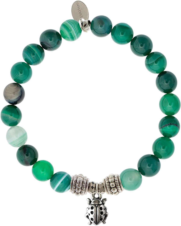 EvaDane Natural Green Stripe Jade Gemstone Rope Bead Ladybug Charm Stretch Bracelet