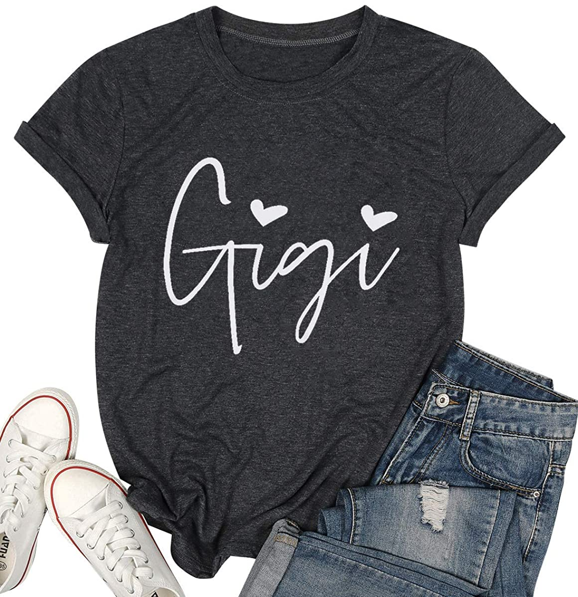 Gigi Shirts Grandma Women Plus Size Funny Heart Graphic Tshirts Letter Printed Short Sleeve Mimi Mother's Day Tops