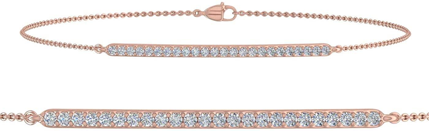 1/5 Carat Diamond Bracelet with Chain in 14K Gold (7.5 Inch) - IGI Certified