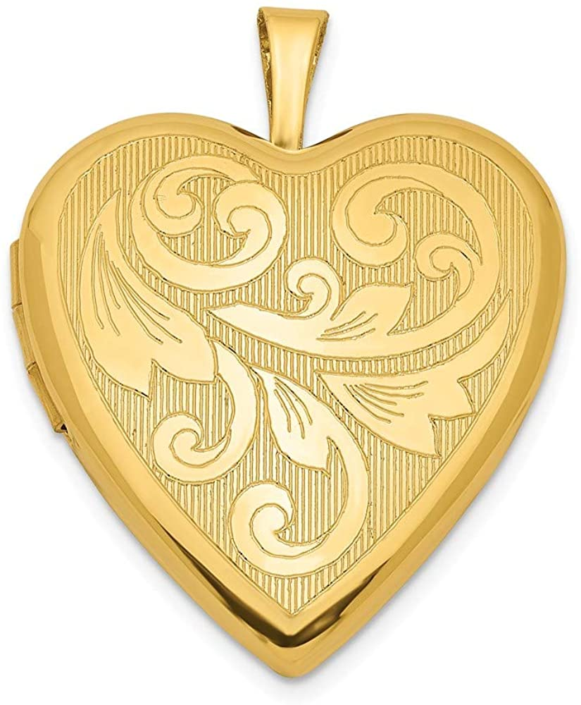 Beautiful Sterling silver 925 sterling Sterling Silver 20mm Gold Plated Textured/Polish Swirl Heart Locket