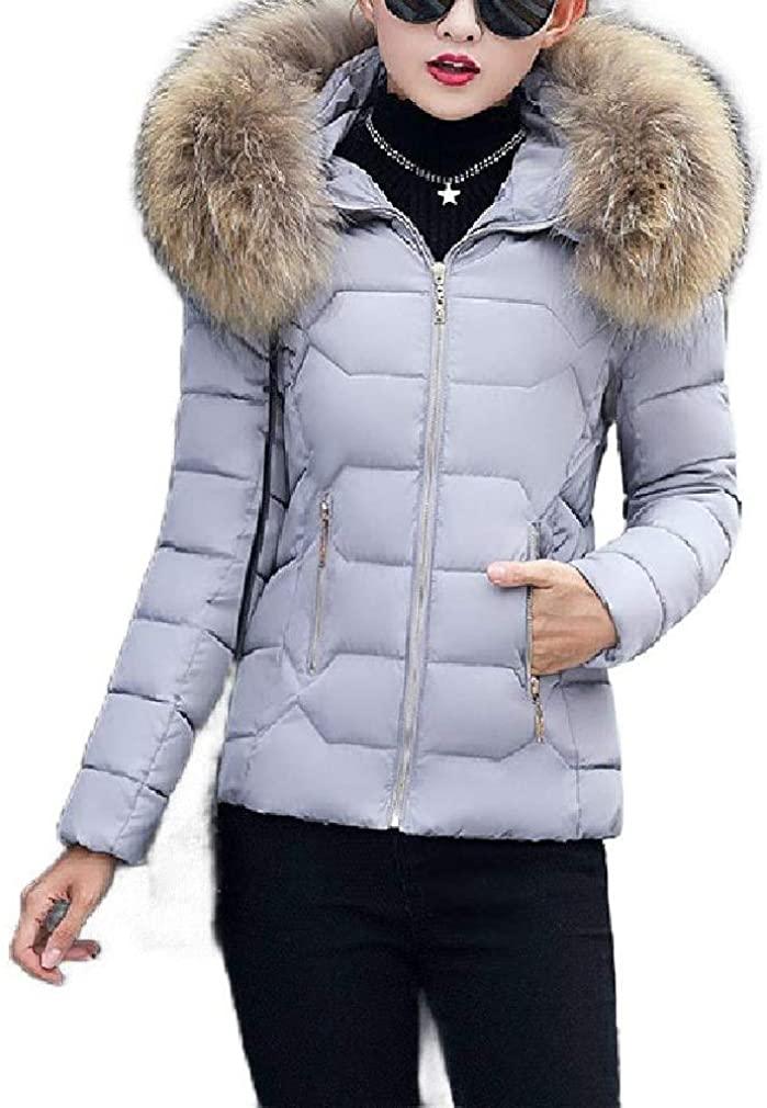 Losait Women Hoodie Parka Outwear Slim-Fit Warm Quilted Jacket