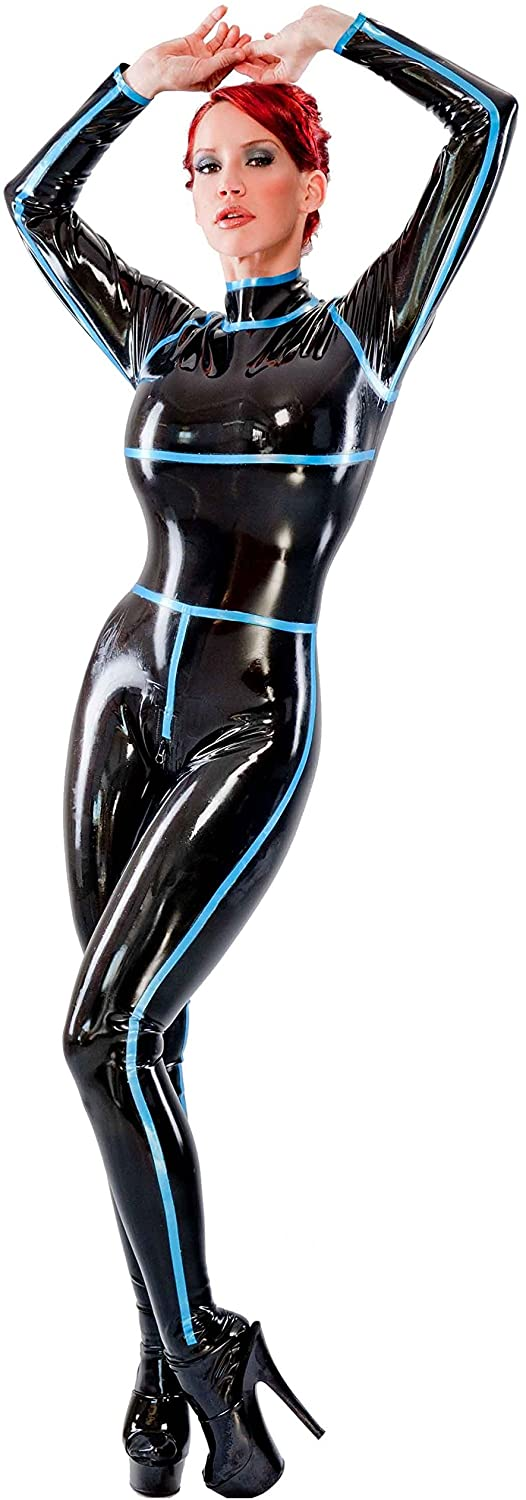 Westward Bound Curve Catsuit. Black with Pearl Sheen Blue Trim.