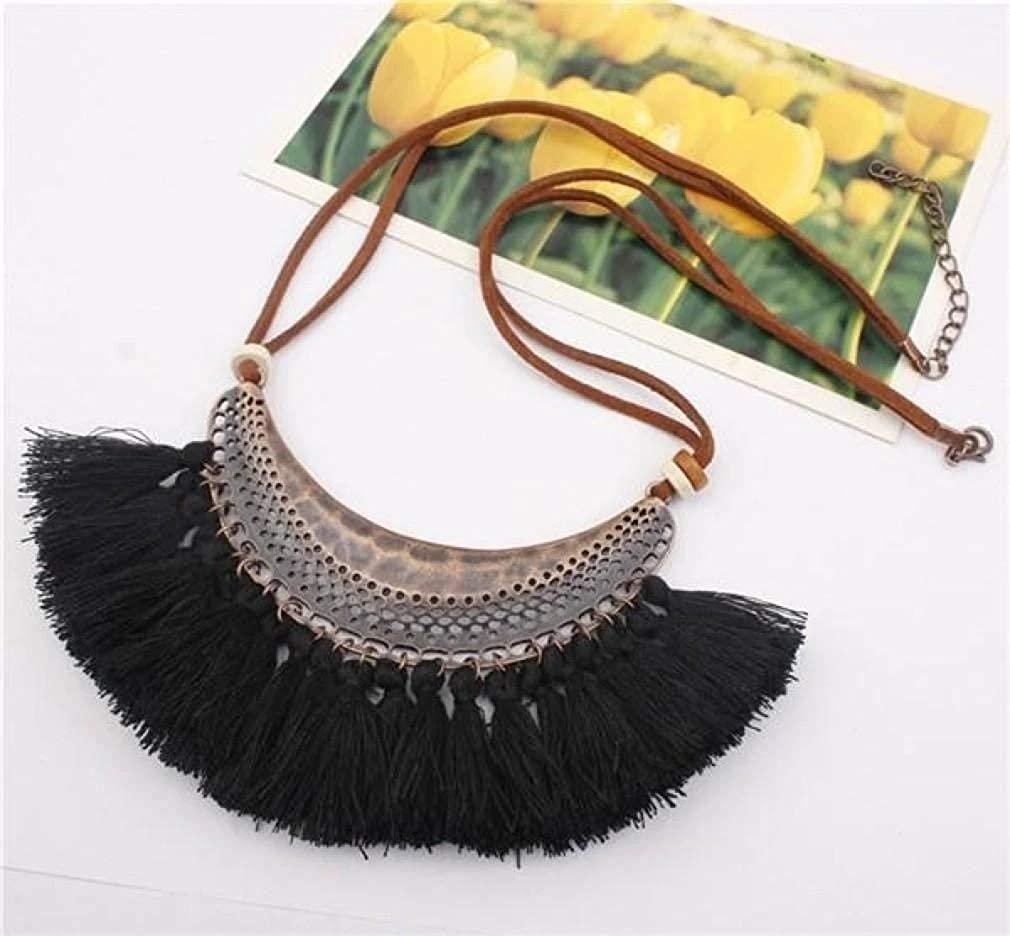 CosMos777 Ethnic Bohemian Retro Tassel Pendant Choker Necklace Trendy Fashion Jewelry for Women